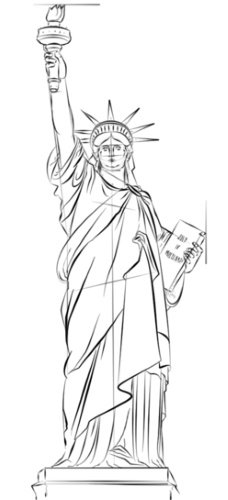Рисунок статуи Свободы в США карандашом для срисовки детей, начинающих