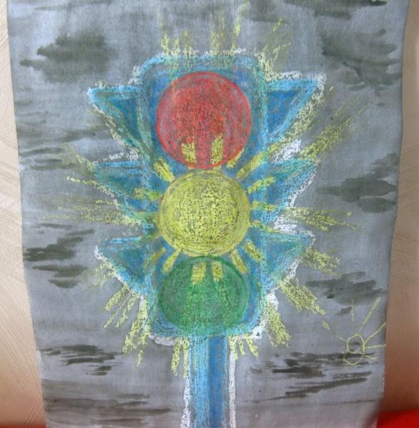 Рисунок светофора для детей для раскрашивания карандашом, красками с руками, дорогой, лицом