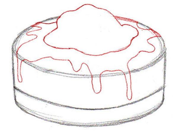 Торт рисунок для детей акварелью, карандашом для срисовки поэтапно красивый, праздничный, легкий