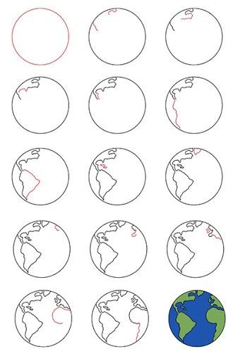 Рисунок планеты Земля для детей карандашом, красками