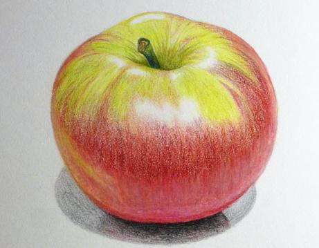 Рисунок Яблоко для детей. Как рисовать карандашом поэтапно черно-белый, цветной
