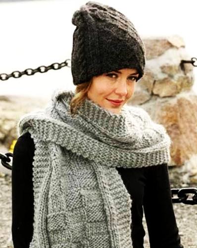 Двойная шапка спицами для женщин. Как связать модели с отворотом, узорами, резинкой, схемы, описание, фото