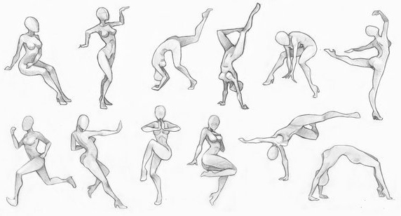 Фигура человека карандашом. Наброски в движении, в полный рост, в разных позах. Рисунок поэтапно