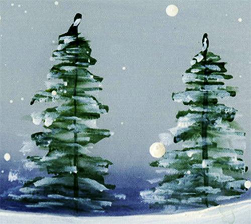 Рисунок «Зима» гуашью пошагово с детьми для начинающих. Видео-урок