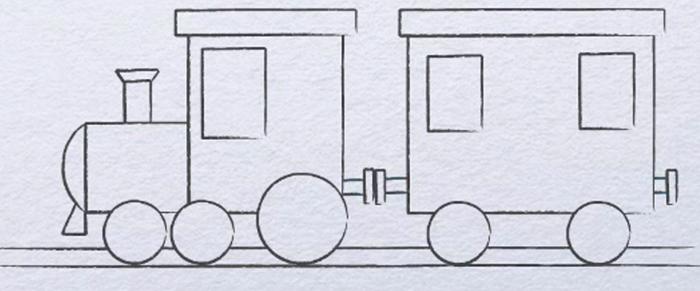 Поезд рисунок для детей карандашом поэтапно