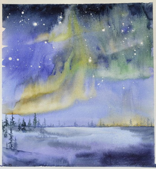 Северное сияние - рисунок для детей красками, карандашом