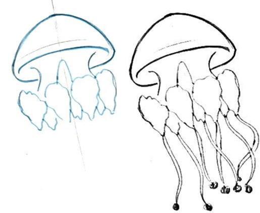 Медуза рисунок для детей карандашом поэтапно